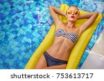 enjoying suntan. vacation... | Shutterstock . vector #753613717