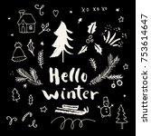 hello winter. merry christmas... | Shutterstock .eps vector #753614647