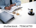 legal counsel presents to the... | Shutterstock . vector #753616753