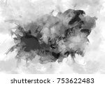 black watercolor stain with... | Shutterstock . vector #753622483