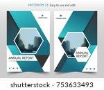 blue hexagon brochure flyer... | Shutterstock .eps vector #753633493