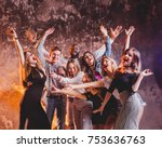group of friends at club having ... | Shutterstock . vector #753636763