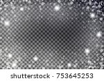 snowflake border vector.... | Shutterstock .eps vector #753645253