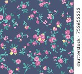 floral pattern in vector | Shutterstock .eps vector #753653323