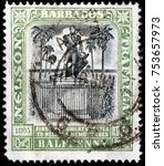 Small photo of LUGA, RUSSIA - OCTOBER 17, 2017: A stamp printed by BARBADOS shows Admiral Nelson statue in Bridgetown at Trafalgar Square (now renamed National Heroes' Square), Barbados, circa 1907