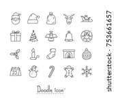 doodle christmas icons. hand... | Shutterstock .eps vector #753661657