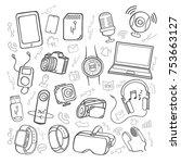 doodle hand drawing set of...   Shutterstock .eps vector #753663127