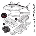 salmon fish meat. japan food... | Shutterstock .eps vector #753663463
