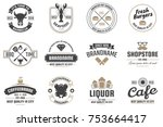 restaurant retro vector logo... | Shutterstock .eps vector #753664417