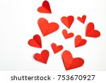 red paper hearts isolated on... | Shutterstock . vector #753670927