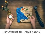 treasure map  hand and compass... | Shutterstock . vector #753671647