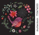 embroidery christmas pattern... | Shutterstock .eps vector #753676033