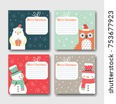 set of postcards happy... | Shutterstock .eps vector #753677923