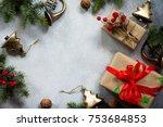 christmas composition....   Shutterstock . vector #753684853