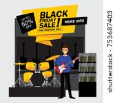 black friday sale music shop... | Shutterstock .eps vector #753687403