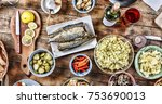 dining table with a variety of...   Shutterstock . vector #753690013