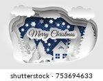 merry christmas vector design.... | Shutterstock .eps vector #753694633