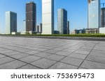 empty brick floor with... | Shutterstock . vector #753695473