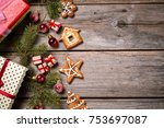 merry christmas. decoration for ... | Shutterstock . vector #753697087