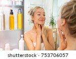 young beautiful woman touching... | Shutterstock . vector #753706057