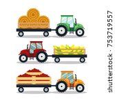 set flat tractors with a cart... | Shutterstock .eps vector #753719557