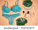 composition with underwear and... | Shutterstock . vector #753721477