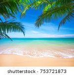 palm and tropical beach | Shutterstock . vector #753721873