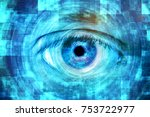 close up of blue eye with... | Shutterstock . vector #753722977
