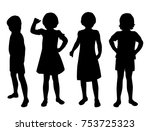 vector silhouettes of girls... | Shutterstock .eps vector #753725323