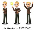 set of blonde businessman in... | Shutterstock .eps vector #753725863