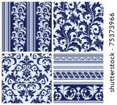 Set of seamless and borders from abstract blue plant(can be repeated and scaled in any size) - stock vector