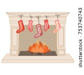 classic fireplace with... | Shutterstock .eps vector #753740743