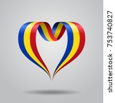 romanian flag heart shaped wavy ... | Shutterstock .eps vector #753740827