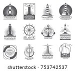 vintage nautical labels with... | Shutterstock .eps vector #753742537