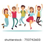 jumping young happy people in... | Shutterstock .eps vector #753742603