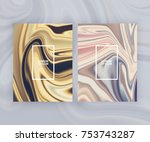 marble texture covers set.... | Shutterstock .eps vector #753743287
