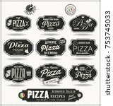 pizza badges and labels retro... | Shutterstock .eps vector #753745033