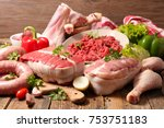 assorted variety of meat | Shutterstock . vector #753751183