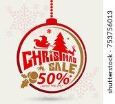 christmas sale design template | Shutterstock .eps vector #753756013