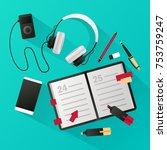 business diary. vector... | Shutterstock .eps vector #753759247