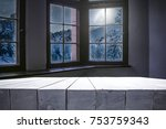 wooden table of free space for... | Shutterstock . vector #753759343