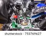 Small photo of Cross section of an automobile combustion engine