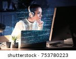 young woman working with... | Shutterstock . vector #753780223