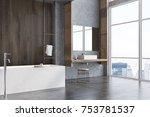 gray and dark wooden bathroom...   Shutterstock . vector #753781537