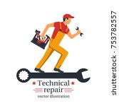 technical repair. banner call... | Shutterstock .eps vector #753782557