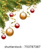 christmas tree corner border... | Shutterstock .eps vector #753787387