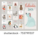 calendar 2018. cute monthly... | Shutterstock .eps vector #753799537