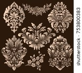 vector set of damask ornamental ... | Shutterstock .eps vector #753800383