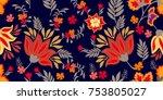 russian folk art style... | Shutterstock .eps vector #753805027
