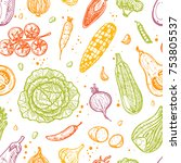 colorful seamless pattern with... | Shutterstock .eps vector #753805537